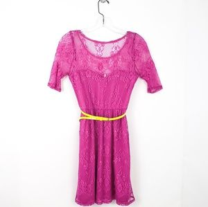 Red Camel Pink Lace Dress Neon Belt small